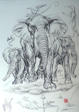 大象素描大全可爱